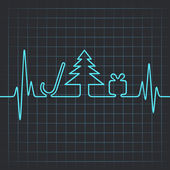 Heartbeat make christmas symbols — Stock Vector