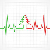 Heartbeat make christmas tree — Stock Vector