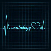 Cardiology text and heart — Stock Vector