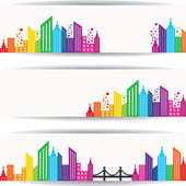 Abstract colorful buildings design for website banner — Stock Vector