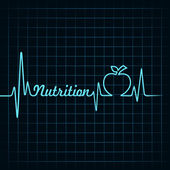 Heartbeat make nutrition word and apple — Stock Vector