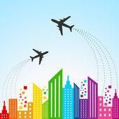 Colorful cityscape scene with aeroplane — Stock Vector