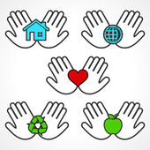 Environment icons with human hands — Stock Vector