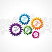 Running man in different cog wheel — Stock Vector