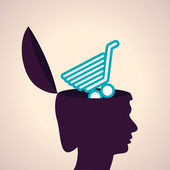 Human head with shopping cart — Stock Vector