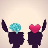 Human head with brain and heart — Stockvektor