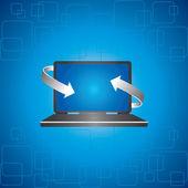 Arrows covers a laptop — Stock Vector