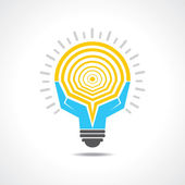 Light-bulb made by hands — Stockvektor
