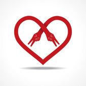 Victory hands make heart shape — Stock Vector