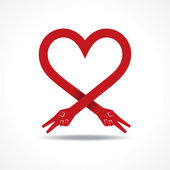 Victory hands make heart shape — Vector de stock