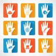 Different business icons and design with helping hand — Stock Vector