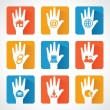 Web icons and design with helping hand — Stock Vector