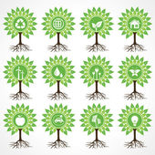 Set of eco icons on tree — Stock Vector