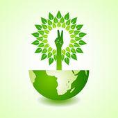 Overwinning hand maken boom op aarde — Stockvector