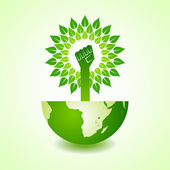 Unity hand make tree on earth — Vetor de Stock
