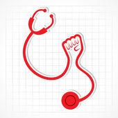 Stethoscope make shape of power hand — Stock Vector
