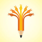 Victory hands make pencil — Vector de stock