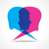 Male and female face make speech bubble — Stock Vector