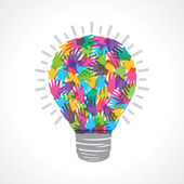 Creative light-bulb of colorful helping hand — Stockvector