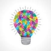 Creative light-bulb of colorful helping hand — Stok Vektör