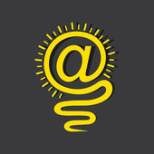 Email sign male a light-bulb — Stock Vector