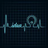 Heartbeat make idea word and light-bulb — Stock Vector