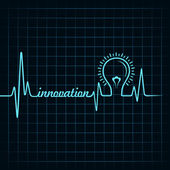 Heartbeat make innovation word and light-bulb — Stock Vector