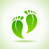 Illustration of foot made by green leaves — Stock Vector