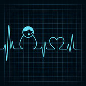 Heartbeat make a contact us icon — Stock Vector