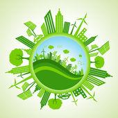 Eco cityscape around circle — Stock Vector