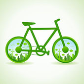 Eco cityscape in bicycle — Stock Vector