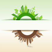 Eco and Polluted city concept — Stock Vector