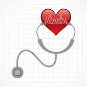 Stethoscope hold heart — Stock Vector
