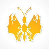 Woman face make a butterfly — Vector de stock