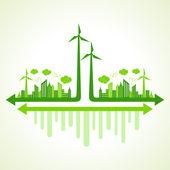 Conceito de ecologia, com moinho de vento — Vetor de Stock