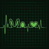 Heartbeat making Easter symbols — Vector de stock