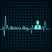 Heartbeat make doctors day text — Vector de stock