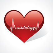 Cardiology word in heart — Stock Vector
