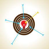 Arrow focus on new idea — Stock Vector