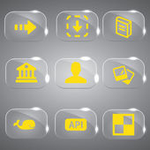 3d-pictogrammen 3d icons ingesteld pictogram glas pictogrammen vector icon set pictogrammen icoon collectie — Stockvector