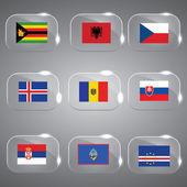 世界的标志标志欧洲标志的欧洲标志矢量标志国家标志玻璃标志集 — 图库矢量图片