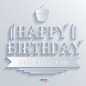Happy Birthday Abstract 3D Design Background Vector illustrations White — Stock Vector