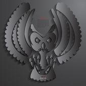 Owl Abstract 3D Design Background Vector illustrations Black — ストックベクタ