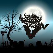 Halloween vector background with moon and bats — Stock Vector