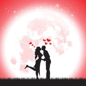 Love Silhouette illustration of two lover in romantic over the moonLove Silhouette illustration of two lover in romantic over the moon — Stock Vector