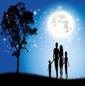 Family with the beautiful moon vector — Stock Vector