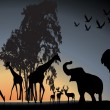 Sunset Safari Wildlife silhouetted against a sunset vector  — Stock Vector