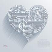 Background Abstract 3D Design of circuit board heart vector — Stock Vector