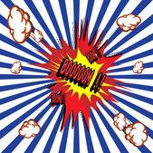 Comic book explosion vector illustration background — Stock Vector