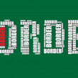Border typography 3d text word art vector border illustration word cloud  — Stock Vector